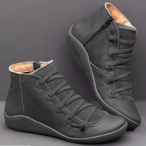 Women Winter leather  Snow ankle Boots fur lined