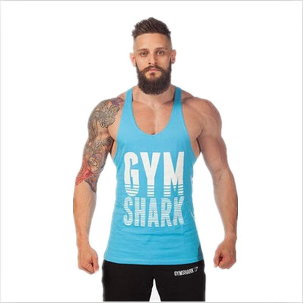 "2017 tank top men vest Solid bodybuilding shirts shark men vest singlet men fitness NOTE"" Please allow 2-3 weeks for Delivery - kdb solution"