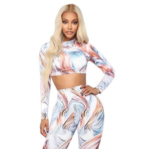 Two Piece yoga tracksuit Print Sportswear Set Long Sleeve Sports Suit - kdb solution