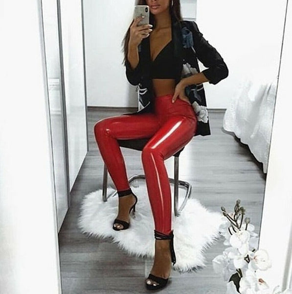 Women Gothic Wet Look PU Leather Leggings Black Slim Thin Long Pants Ladies Skinny Leggings Plus Size - kdb solution