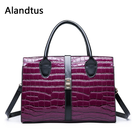 Crocodile Pattern Leather Tote Casual Big Satchel Purple Top-Handle Bag Bolsa Feminina - kdb solution