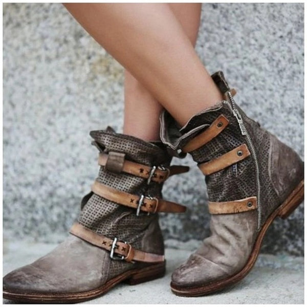 Women's Boots Breathable with Retro Buckles - kdb solution