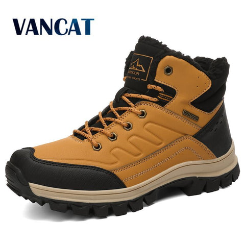 Mens Winter Plush Waterproof Snow Boots