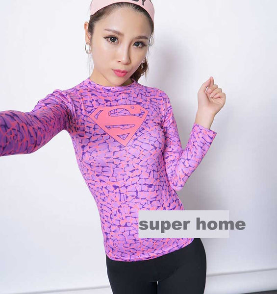 Women T-shirt Bodys Armour Marvel costume superman/batman T Shirt Long Sleeve Girl Fitness Tights Compression tshirts Note* Please allow 2-3 weeks for Delivery - kdb solution