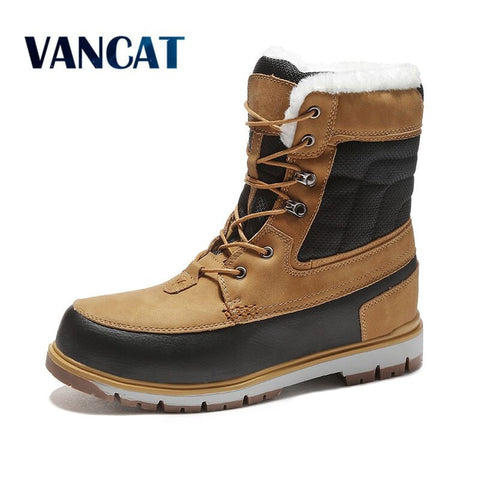 Vancat Winter Warm Plush Fur Snow Boots Men Ankle Boots  Waterproof Size 39-47