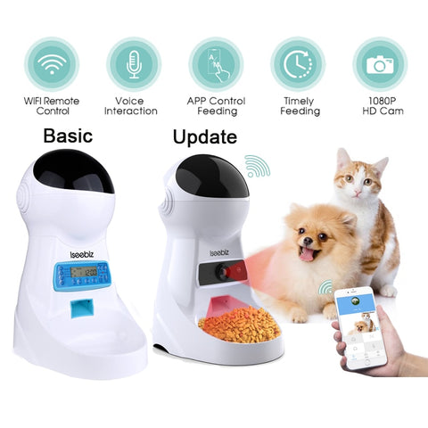 Iseebiz 3L Automatic Pet Feeder With Voice Record. food Bowl For Medium Small Dog Cat LCD Screen Dispensers 4 times One Day - kdb solution
