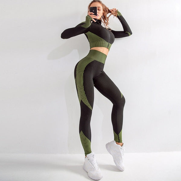 women sport suit seamless women yoga set gym clothes fitness clothing - kdb solution