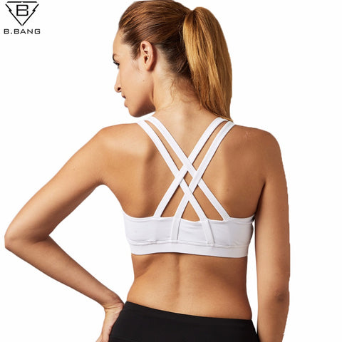 B.BANG Running Fitness Padded Athletic Vest Sports Quick Dry Girl Yoga Top - kdb solution