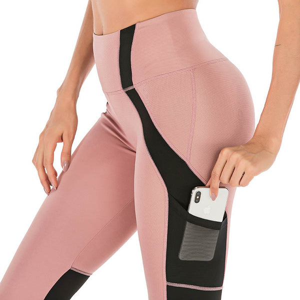 High Waist Pink or Grey Leggings With pocket Mesh Patchwork Slim - kdb solution