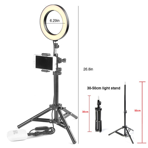 ET LED Camera Ring Light Stand with Phone Holder Photography Ring Light Tripod Selfie Photography Light - kdb solution