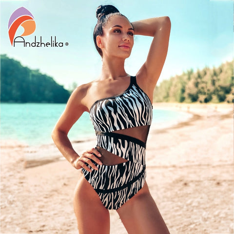 Black White Leopard Print Swimwear One Piece Swimsuit  Push Up Padded Mesh High Waisted - kdb solution