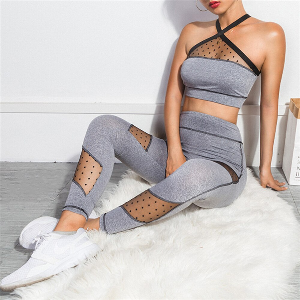 Mesh Fitness Yoga Suit Sports Bra and leggings Sportswear Jogging set - kdb solution