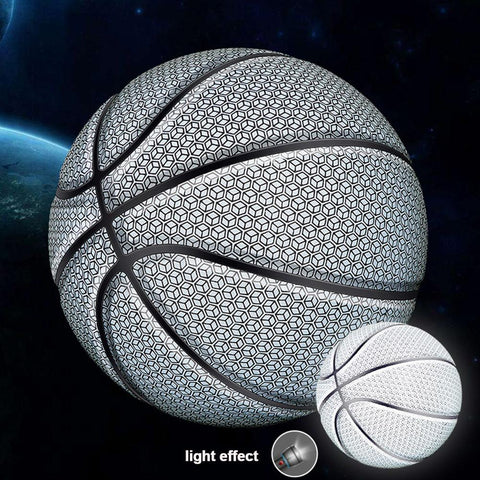 Basketball Ball Battery-Free Rainbow Reflective PU Glow in the Dark Basketball Fluorescent Bright Weight Size 7