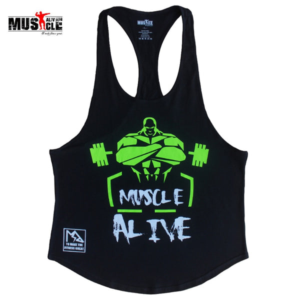 MUSCLE ALIVE Fitness Tank Top Men Bodybuilding Clothing