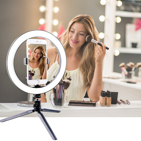16CM/26CM LED Selfie Ring Light Multi-Function Dimmable Ring Light For Cell Phone Camera Live Stream Makeup Youtube Facebook - kdb solution