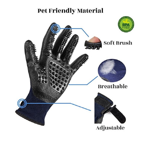 1 Pair Grooming Glove for Cats and dogs Soft Rubber Pet Hair Remover - kdb solution