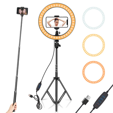 10 Inch selfie light photography lighting with Tripod Stand Phone Holder LED Ring light for YouTube Video, Desktop Camera Makeup - kdb solution