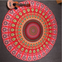 2017 Hot Indian Mandala Tapestry Peacock Printed Boho Bohemian Beach Towel Yoga Mat Sunblock Round Bikini Cover-Up Blanket Throw Note* Please allow 2-3 weeks for Delivery - kdb solution