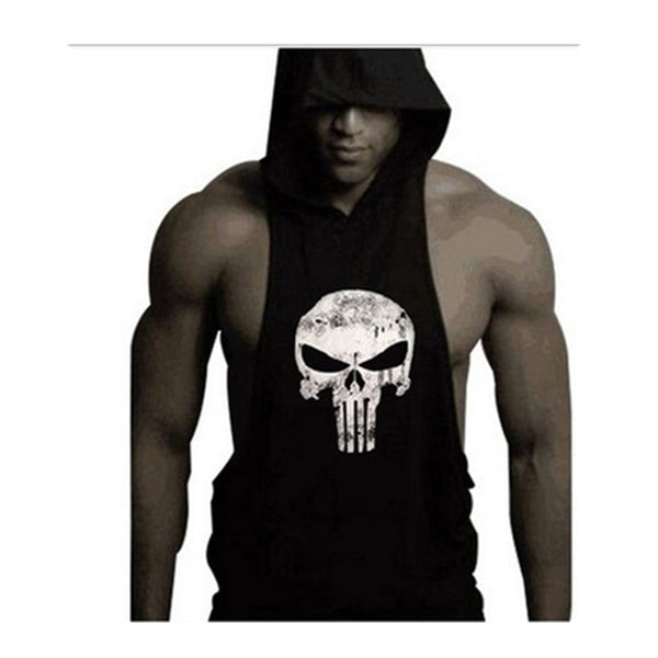 Mens bodybuilding summer tank top muscle tank tops bodybuilding vest skull summer hoodie vest sportwear tank for man Note* Please allow 2-3 weeks for Delivery - kdb solution
