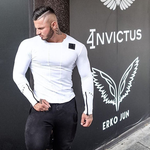 Men fashion t-shirts 2017 spring Slim Fit t shirt Muscle Tops - kdb solution