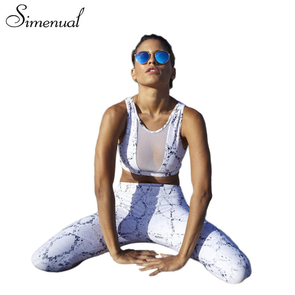 Simenual 2PCS tracksuit for women mesh splice summer print fitness bra leggings - kdb solution