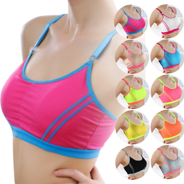 Women Lady Sports Yoga fitness Athletic Solid Wrap Chest Strap Vest  Push Up Seamless Fitness Top Bras - kdb solution