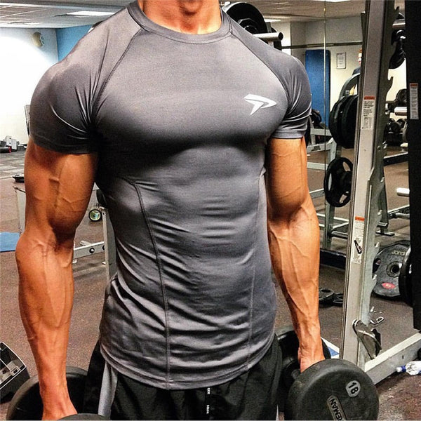 New high quality 2017 gymshark leica polyester patchwork compressed T-shirt - kdb solution