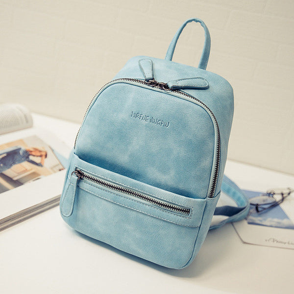 New Fashion PU Leather Mini Candy Colour Backpack - kdb solution