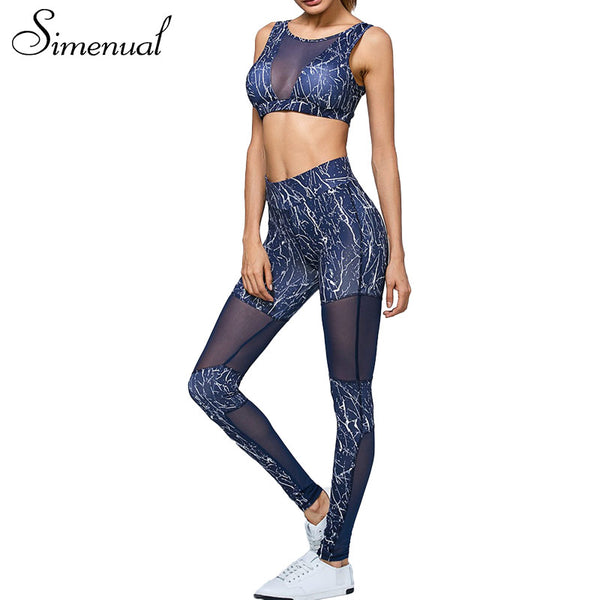 Sportswear tracksuit high waist leggings and bras 2pcs fitness mesh splice women's tracksuits - kdb solution