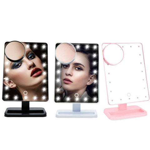 10X Magnifier LED Touch Screen Makeup Mirror Portable 20 LEDs Lighted Cosmetic Adjustable Vanity Countertop Magnifying - kdb solution