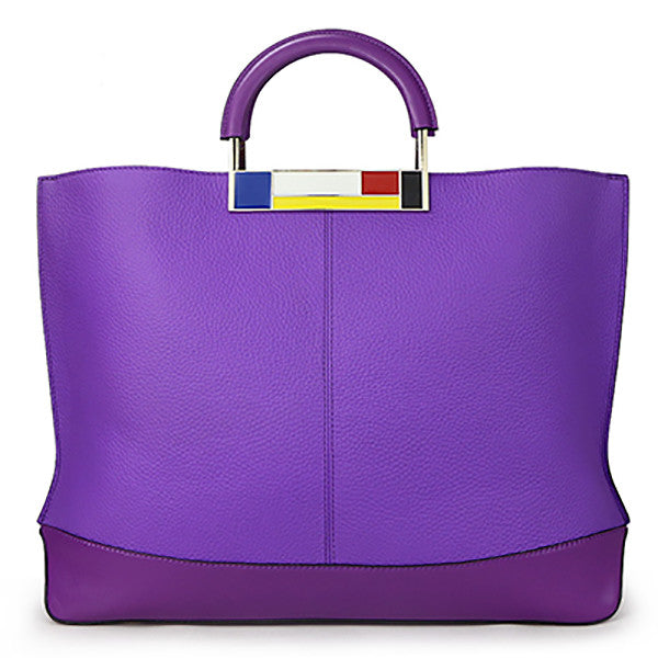 Large Genuine Leather  European Style Purple Tote Bag - kdb solution