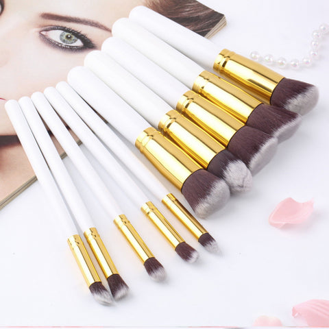 10Pcs Professional Makeup Brush Sets Brushes Black Soft Synthetic Hair Make up Tools Kit Cosmetic Beauty - kdb solution