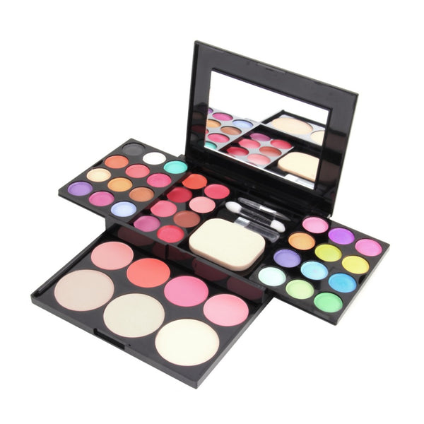 Professional Makeup Shimmer Natural eyeshadow palette, Lip Gloss, Powder Blusher Puff, Cosmetic Mirror set - kdb solution