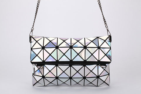 High quality personalized fashion geometric mosaic laser folding chain shoulder bag envelope clutch bag - kdb solution