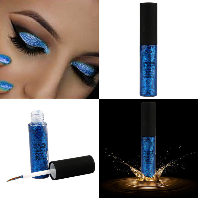 New Fashion Blue Pigments Metallic Smoky Eyes Eyeshadow Waterproof Glitter Liquid Eyeliner&Eyeshadow - kdb solution
