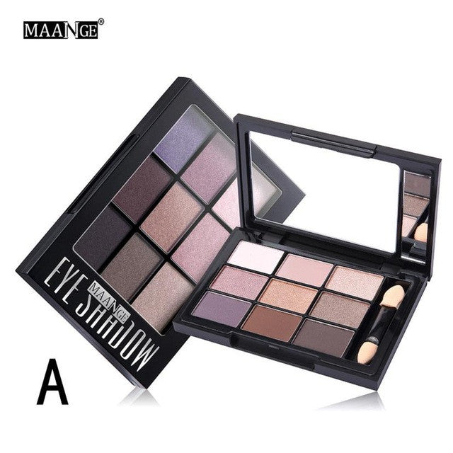 MAANGE Brand 9 Colors Shimmer Matte Eye Shadow Makeup Palette Light Eyeshadow Set With Brush - kdb solution