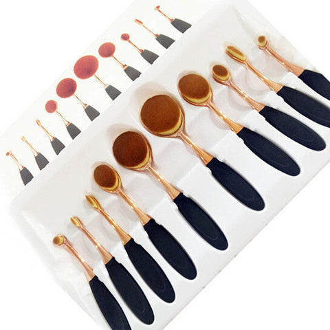 10 Piece Rose Gold Oval Makeup Brush Set Cosmetic Foundation Cream Powder Synthetic Brushes Tools Foundation Oval Brush MU0508 - kdb solution