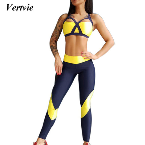 Vertvie Women Tracksuit/Yoga Set Sportswear Bandage Breathable High Elasticity Push Up Bra+Pant - kdb solution
