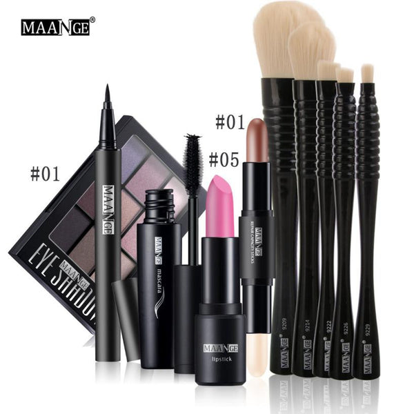 New 10Pcs Makeupkit Black Eyeliner Pencil Matte Lipstick Double-headed high-light concealer Eyeshadow Makeup Brushes Mascara#626 - kdb solution
