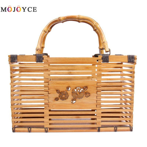 Fashion Hollow Handmade Woven Bamboo Square Handbags High Quality Summer Beach - kdb solution