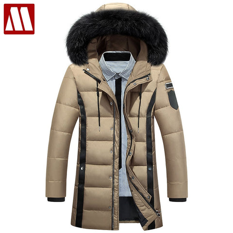 Mens Detachable Hooded White Duck Down Jacket in Sizes S-XXXL