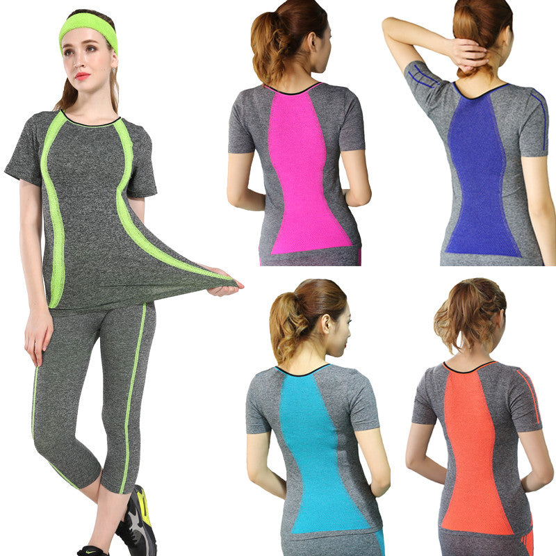c921c73d9 New Style Yoga Gym Compression Tights Women s Sport T-shirts Dry Quick  Running Short Sleeve ...