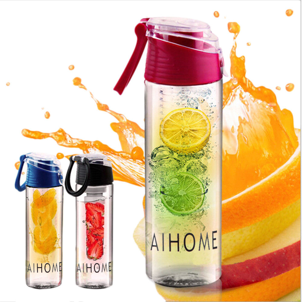 AIHOME 800ml Cycling Sport Fruit Infusing Infuser Water Lemon Cup Juice Bicycle Health Eco-Friendly BPA Detox Bottle Flip Lid NOTE* Please allow 2-3 weeks for Delivery - kdb solution