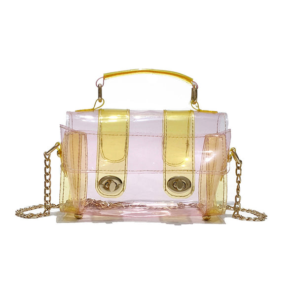 Women Clear Transparent Chain Crossbody Bag Shiny Holographic Jelly Shoulder Bag - kdb solution
