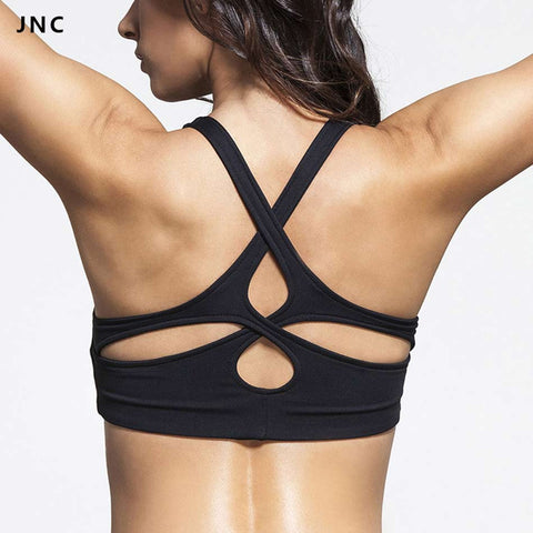 Popular Women's Black Padded Sports Bra Crisscross Yoga Sports Top Push Up Underwear Workout Clothing Tank Top - kdb solution
