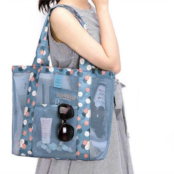 Women Candy Flower Transparent Handbag Shoulder Beach Outdoor Travel Bag (Sky Blue) - kdb solution