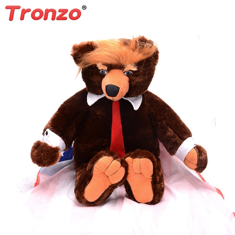 Tronzo 1Pcs 60cm Donald Trump Plush Bear Toy New Cool USA President Trumpy Bear With Flag Cloak Collection Gift - kdb solution