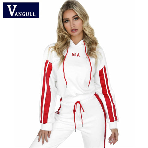 Red and White Fitness Tracksuits with Hooded Sweatshirt