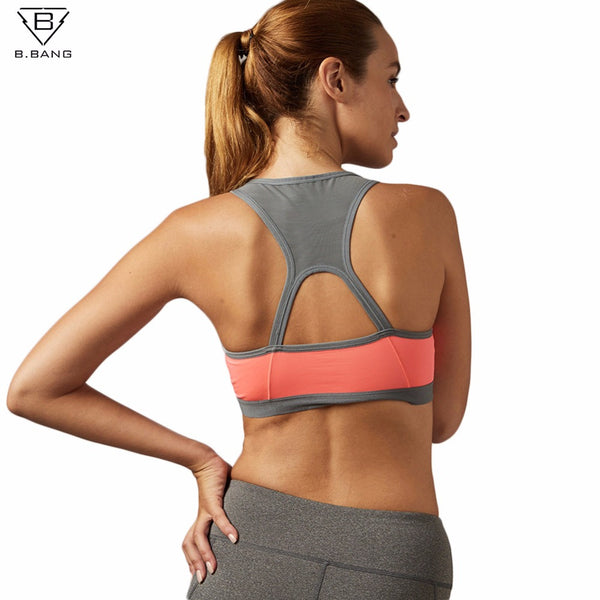 B.BANG Padded Yoga Sports Bra Push Up Dry Fit Tank Tops For Running Fitness Gym Bras Plus Size - kdb solution