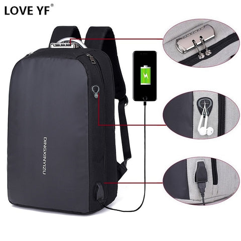 Men's Business Laptop Mochila USB charging anti-theft password lock school bag Headphone music  Jack